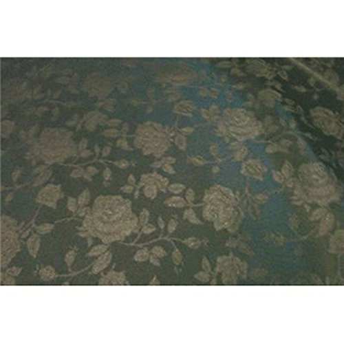 Floral Jacquard Brocade Satin Fabric by the Yard (Hunter Green)