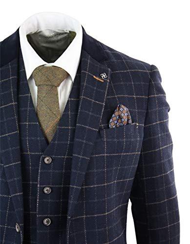 Cavani Vintage Marine Tweed 3 Bleu Costume À Blinders Rétro En Pièces Carreaux Homme Chevrons Peaky Of House P7qHw5S