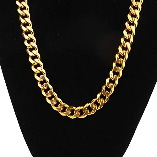 Mens Gold Solid Cuban Link Necklace Chain Hip Hop Fashion Collar Hollow Stainless Steel Pendant, 11mm 30inchs