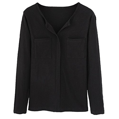 Chemisier Longues Femmes Bringbring Tops Uni Casual Col Blouse Shirts V Noir Manches S6RU4Rqw