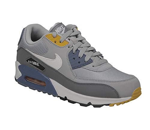 Nike Mens Air Max 90 Essential Running Shoes Wolf Grey/White/Indigo Storm AJ1285-016 Size 11