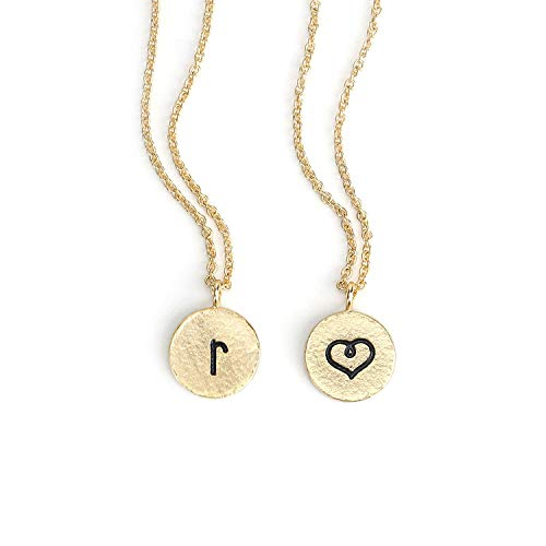 KISSPAT Tiny Initial Necklace Gold Personalized Letter Pendant Heart Choker Double Side Fashion Jewelry for Women Girls -