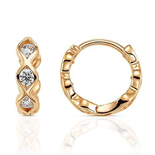 Jewel Connection Modern Design CZ Huggie Hoop Earrings in 14K Yellow Gold