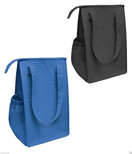 Thermo Tote Insulated Lunch Bag Wine Cooler Tote Reusable Tall Water Bottle Carrier for Adults Men Women (Pack of 2 for Price of 1 - Royal & Black - ST3091)