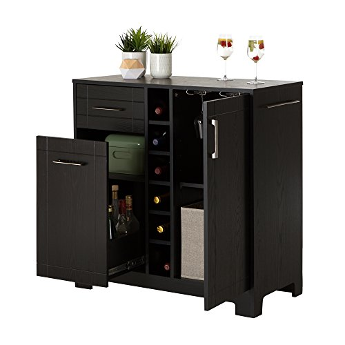 South shore vietti bar cabinet with bottle and glass for Home bar furniture abu dhabi