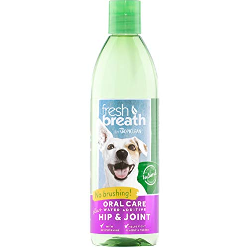 Fresh Breath by TropiClean Oral Care Water Additive Plus Hip & Joint for Pets, 16oz, Made in USA