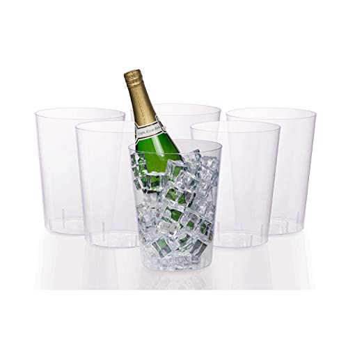 Exquisite 6 Pack Of 96 Ounce Disposable Clear Plastic Ice Bucket For Parties - Good As One Large Champagne Chiller Or Classic Wine Bottle