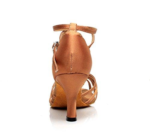 JSHOE Cuir Pailleté Des Femmes Bout Pointu Talon Chaton Chaussures De Danse Latine De Bal,Brown-heeled7.5cm-UK7/EU41/Our42