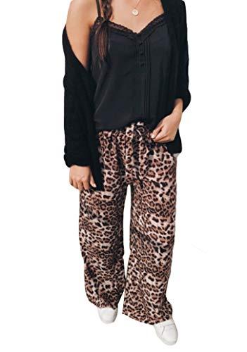 Women's Pajama Pants Casual Leopard Drawstring Lounge Pants Women Wide Leg Palazzo Pant (L, Leopard) (Pants Lounge Leopard)