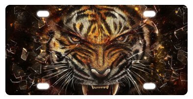 ClustersNN Tiger Eyes Novelty License Plate Decorative Front Plate 6