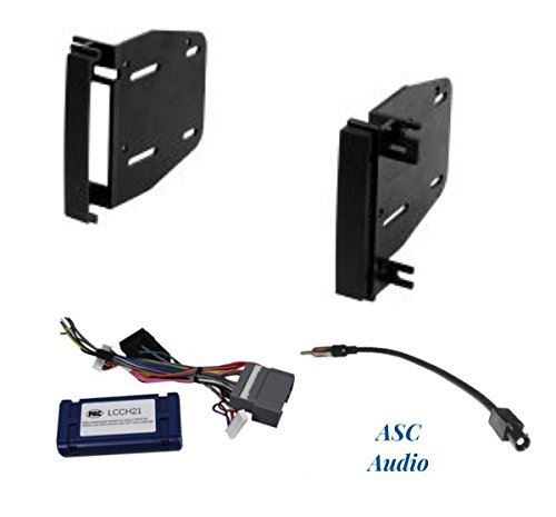 ASC Audio Premium Car Stereo Radio Install Dash Kit, 12V Wire Harness for Amp and No Amp, and Antenna Adapter to Add an Aftermarket Double Din Radio for some Chrysler Dodge Jeep- Vehicles listed below