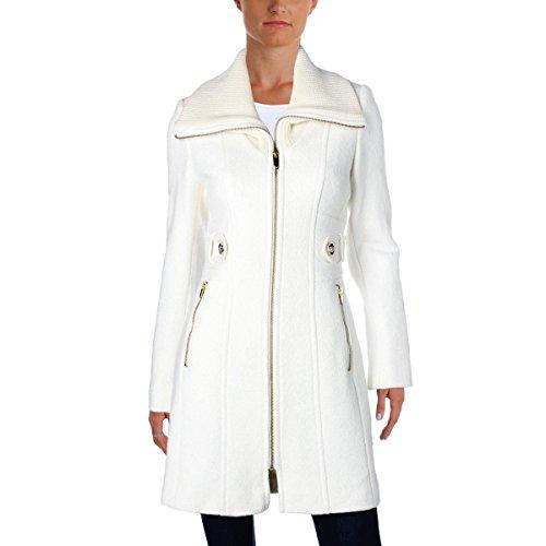 - Via Spiga Womens Winter Wool Blend Car Coat Ivory 16