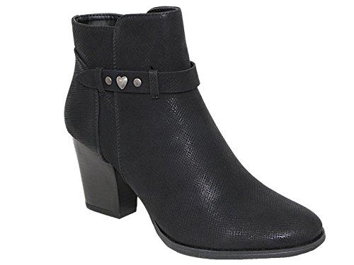 Ferse 3 Damen Fashion Block 8 Low Schwarz Chelsea Mid Reißverschluss Stiefel Schnalle Memory Kunstleder Foam Stiefeletten Größe YrCwqY6