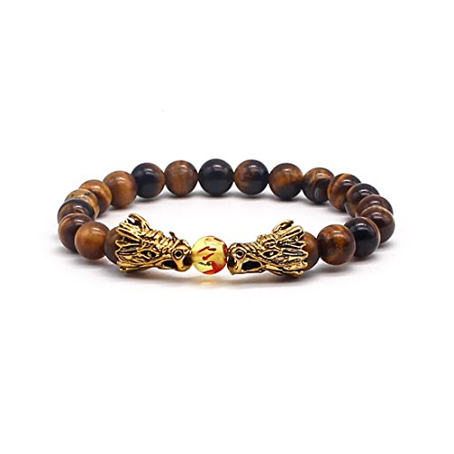 Charm Gold Dragon 8mm Beads Natural Tiger Eye Gem Elastic Bracelet for Mens -