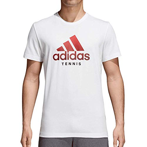 Adidas Mens Category Tennis Tee Shirt, White (Small)