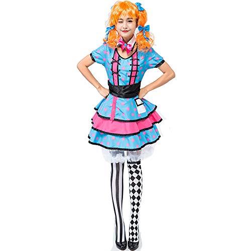 Honfill Clown Costume Novelty Blue Dot Dress with Headwear