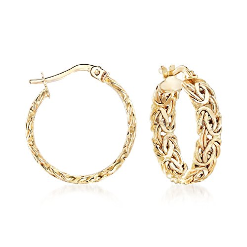 Ross-Simons 14kt Yellow Gold Byzantine Hoop Earrings ()
