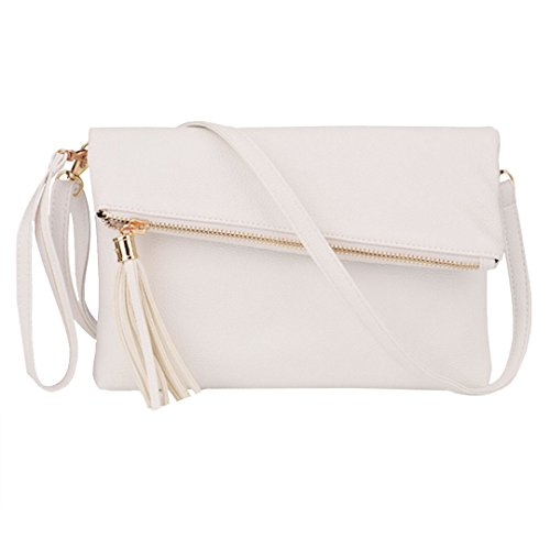 Leather Pu Tassel White Bag Girls Handbag Shoulder Bags Womens Wristlet Crossbody Meliya Envelope Foldover CtqfFt