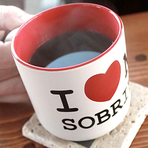 Sober Coffee Cup - I <3 My Sobriety Ceramic Mug - Large 14 oz - Heart Design AA Recovery Gifts for Alcoholics Anonymous