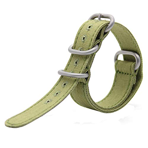 20mm Rugged Army Green Stitched Canvas Watch Strap for Men and Women NATO Straps Cotton Canvas Watch Bands by CHICLETTIES (Image #7)