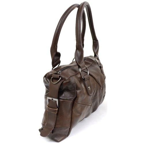 Mujer bolso de piel con correa de hombro desmontable ajustable. Diseño de hebilla lateral (negro, marrón, beige, marrón oscuro) marrón