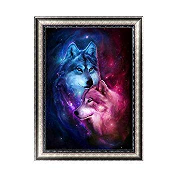 Kofun DIY Red Blue Wolf 5D Diamond Painting Crystal Embroidery Crafts Cross Stitch Art Craft Home Room Wall Decor 30x40 cm