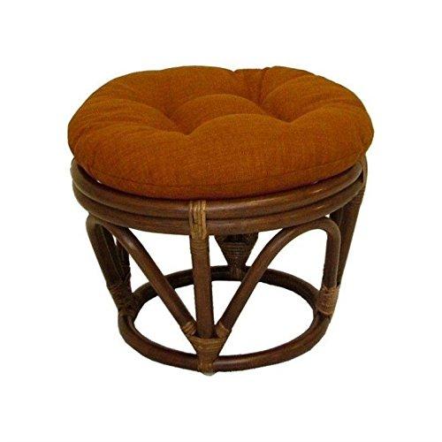 - 18-Inch Bali Rattan Papasan Footstool with Cushion - Solid Twill Fabric, Sunset - Sunset