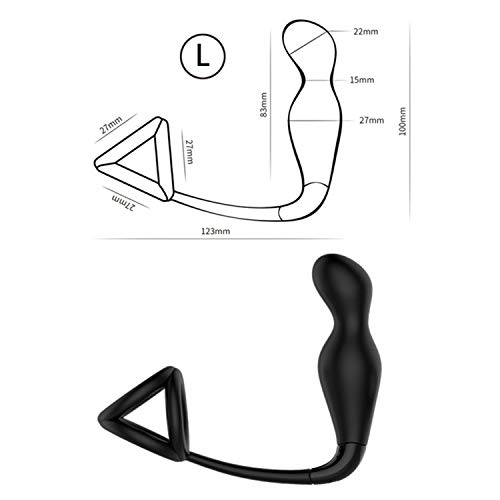 Woodrow Nora Male Anal Sex Toys 12 Speed Silicone Vibrating Butt Plug for Men with Double Lock Cock Ring Orgasm Prostate Massager Sex Product L
