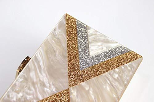 Women Clutch Perspex Design Acrylic Geometric Beige EROGE Colorful Box Purse for Handbags HwvB55qZ