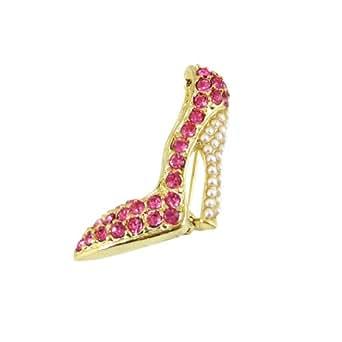 Rhinestone and Simulated Pearls High Heel Mini Shoe Brooch Pin, Pink