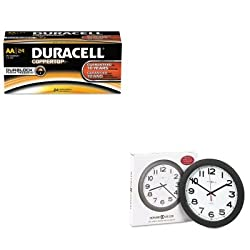 KITDURMN1500B24MIL625320 - Value Kit - Howard Miller Norcross Auto Daylight-Savings Wall Clock (MIL625320) and Duracell CopperTop Alkaline Batteries with Duralock Power Preserve Technology (DURMN1500B24)