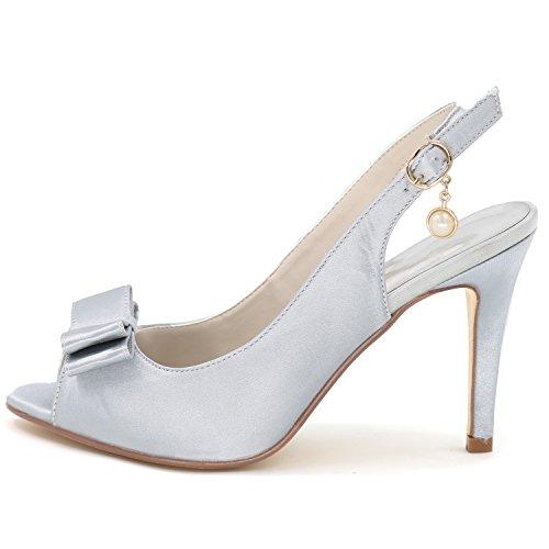 Heel Stiletto Buckle Purple Satin Shoes Elobaby Size 9cm Toe Solid Wedding Latin 35 42 Bridesmaid Peep Women's YgaUZ