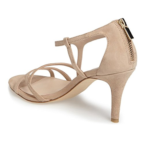 4 Heel Nude High 15 Size Back Evening Sandals Cut Prom US Party Shoes Classy Strappy Out Zipper FSJ Women xIqwZUqR