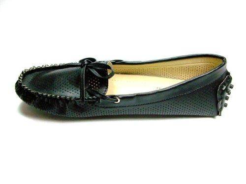 Damer Svart Konstläder Halka På Mockasin Stil Lägenheter Mode Skor Svarta