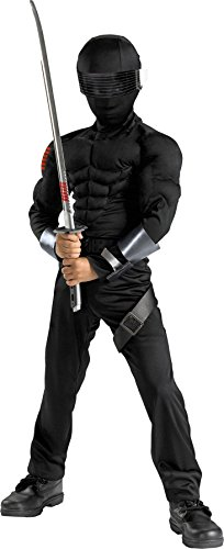 UHC Boy's G.I. Joe Snake Eyes Musc Kids Child Fancy Dress Party Halloween Costume, S (4-6) -