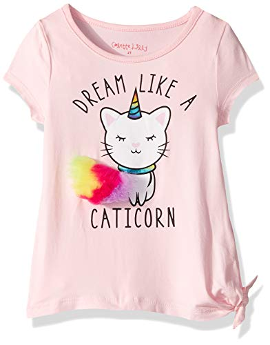 Colette Lilly Girls' Toddler Short Sleeve Knit Top, Pink Cat I Corn, - Knit Cat Top