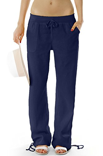 Bestyledberlin Damen Hosen, Leinenhosen, legere Stoffhosen j98a Gr.40/L Damen Hosen dunkelblau