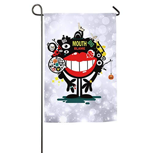 FOOOKL Big Mouth Blame Happy Halloween Home Family Party Flag 101 Hipster Welcomes The Banner Garden Flags ()