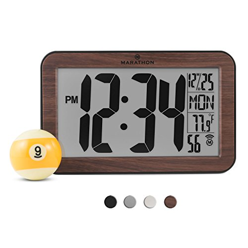 MARATHON CL030033WD Atomic Self-setting Self-adjusting Wall Clock w/ Stand & 8 Timezones - Wood Grain Tone - Batteries Included