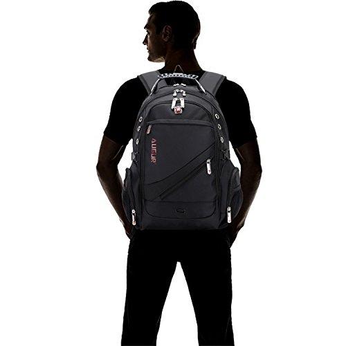 FANDARE Alpinista Mochila Backpack Para Ordenador Portátil 10''-15.6'' Recorrido Morral al Aire Libre Impermeable Viaje Escuela Bolso Mujeres Hombres Ultra Ligera Alta Capacidad Poliéster Negro Negro
