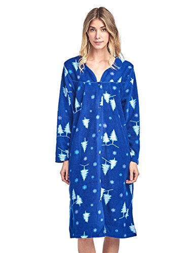 Casual Nights Women's Printed Fleece Snap-Front Lounger House Dress - Royal Blue - X-Large