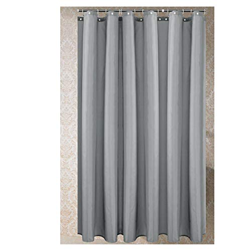 Polyester Fabric Shower Curtain with 12 pcs Hooks Waterproof Plastic Bath Screens Solid Color Eco-Friendly Bathroom Curtains,Light Grey,W180xH180cm