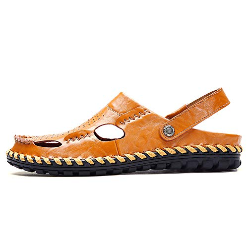 The small cat Brand Summer Beach Shoes Men Sandals Leather Flip Flops Outdoor Slippers,Dark Brown,6.5