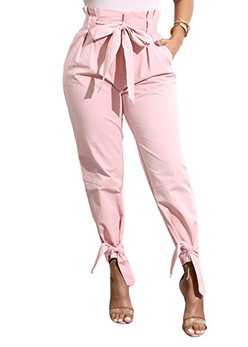 Yissang Women's Casual Loose High Waist Long Pencil Pants with Bow Tie Belt (Pink, (Tie Bottom Pants)