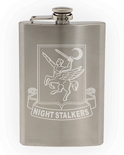 US Army - 160th Special Operations Aviation Regiment (SOAR) DUI Patch Etched 8oz Stainless Steel Flask - Dui Patch Military