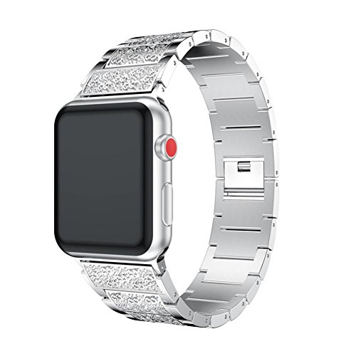 Price comparison product image Apple Watch Band,Sunfei Luxury Alloy Crystal Watch Band Wrist Strap for Apple Watch Series 3 38MM/42MM (42MM, Silver)