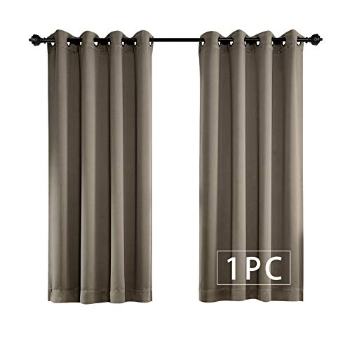 MYSKY HOME Solid Grommet top Thermal Insulated Window Blackout Curtain for Living Room, 52 by 63 inch, Taupe (1 Panel)