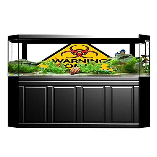 fengruihome Fish Tank Poster Aquarium Background Backdrop PVC Adhesive Warning Zombie Outbreak Sign Cemetery Infection Halloween Graphic Earth Yellow Red Black Sticker Wallpaper Fish Tank 29.5