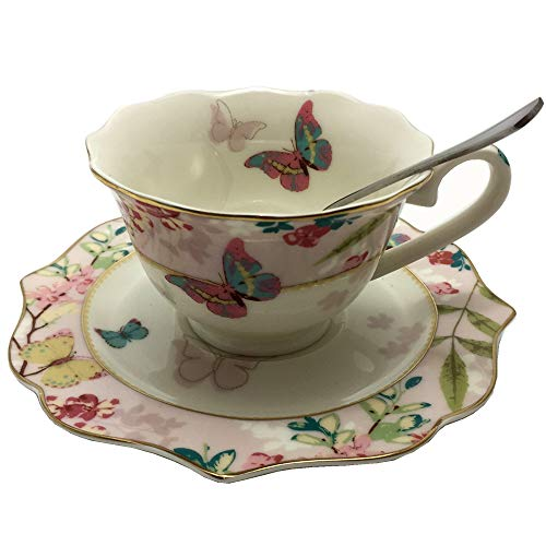Krysclove Vintage Butterfly Bone China Teacup Spoon and Saucer Set, Delicate Royal Bone China Coffee Mug Print Cup Ceramic Tea Cups (Pink) ()
