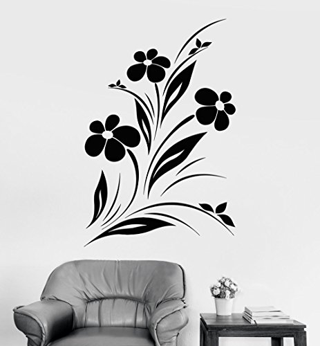 BorisMotley Wall Decal Flowers Nature Garden Vinyl Removable Mural Art Decoration Stickers for Home Bedroom Nursery Living Room Kitchen ()